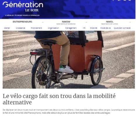 Un fort développement du vélo cargo en Belgique